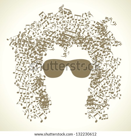 human face is made up of musical notes. concept of music. Vector illustration - stock vector