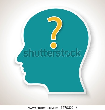 Human face with question mark. Vector illustration for your design.