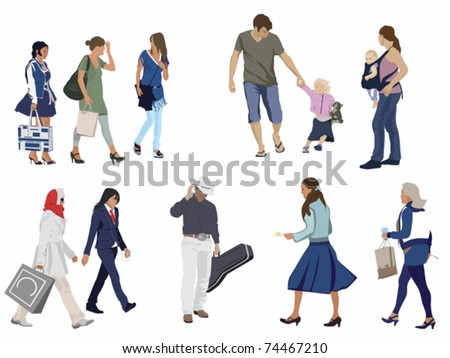 human figures on white - stock vector