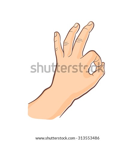 Human gesture.Ok sign. Man hand isolated on white background.  - stock vector