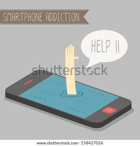 human get drowned in concept smartphone addiction - stock vector