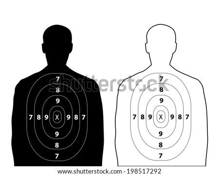 Human gun target on white background - stock vector