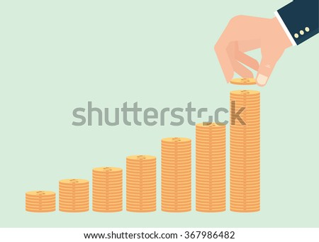 Human hand adding golden coin in the final row of gold coins, Concept for money coin vector illustration. - stock vector