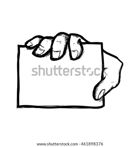 Human hand concept represented by hand with note  icon. Isolated and flat illustration