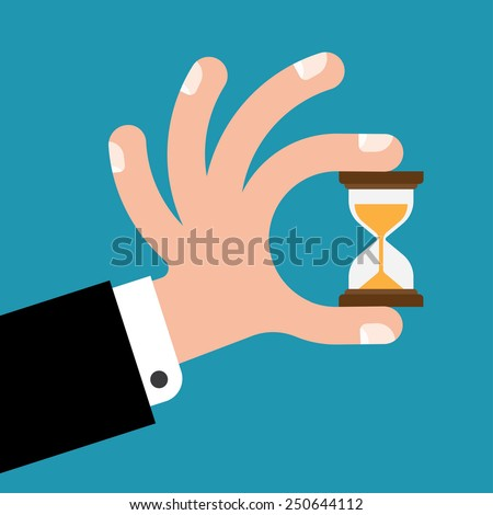 human hand derzhet hourglass, isolated on blue background - time is money concept. - stock vector
