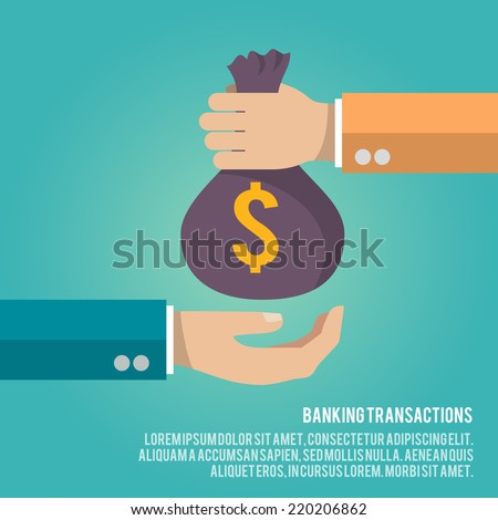 Human hand gives money bag to another person payment banking poster vector illustration - stock vector