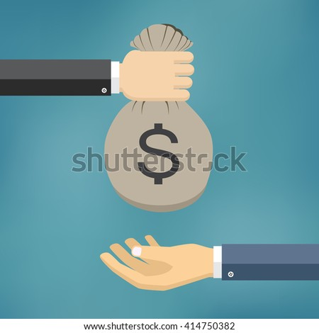 Human hand gives money bag to another person. Payment vector illustration.