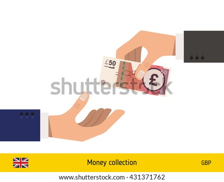 Human hand gives money to another person vector illustration. British pound banknote.  - stock vector