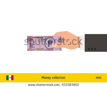 Human hand gives money vector illustration. Mexican peso banknote. - stock vector