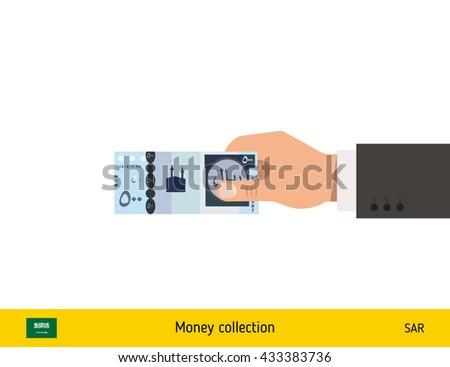 Human hand gives money vector illustration. Saudi Arabian riyal banknote. - stock vector