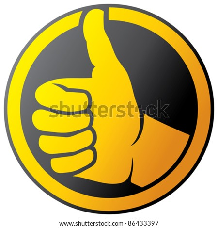 Human hand giving ok - button icon (Vector hand showing thumbs up) - stock vector