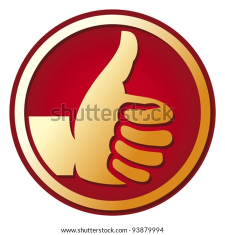Human hand giving ok (hand showing thumbs up, best choice button, thumb up ) - stock vector