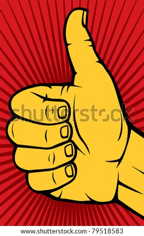 Human hand giving ok (thumbs up) - stock vector