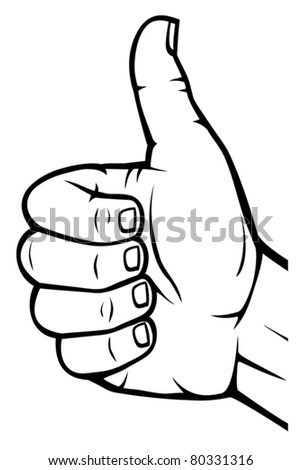 Human hand giving ok (Vector hand showing thumbs up) - stock vector