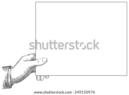 Human hand holding a page. Vector background at retro engraving style.  - stock vector