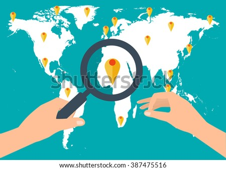 Human hand holding holding magnifying glass for finding the best travel destination in summer holiday on world map. Flat modern design style vector illustration travel concept. - stock vector