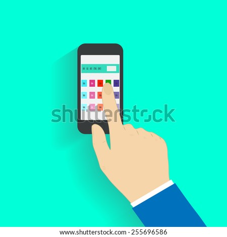 Human hand holding mobile phone with News internet site in the browser window. Vector illustration EPS10 - stock vector