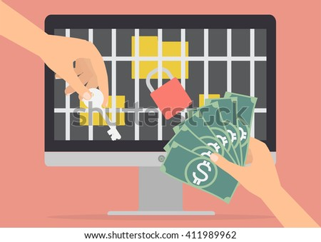 Human hand holding money banknote for paying the key from hacker for unlock jail for folder got ransomware malware virus computer. Vector illustration technology data privacy and security concept. - stock vector