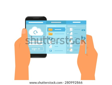 Human hand holds smartphone with app for cloud sync. Text outlined - stock vector