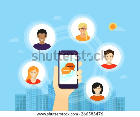 Human hand holds smartphone with application for social networks and friends icons around him - stock vector