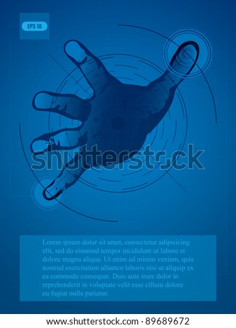 Human hand interacting with an advanced digital interface - stock vector