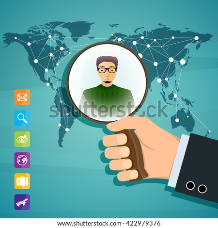 Human hand is holding magnifying glass. Social network. Stock vector illustration. - stock vector