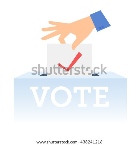 Human hand putting voting paper in the ballot box. Flat concept illustration of hand, ballot paper, voting container. Isolated vector infographic element for web, presentation, brochures. - stock vector
