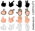 Human Hand Signs. Vector Clip Art - stock vector