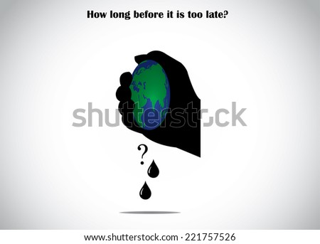 human hand silhouette squeezing planet earth for fossil fuel global warning environmental destruction concept illustration - stock vector