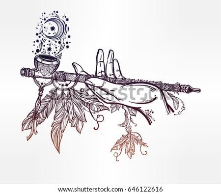 tattoo smoking pipe stock images royaltyfree images