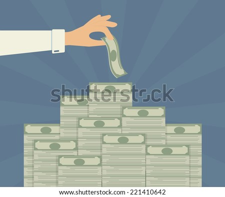 Human hand takes money from bank deposit - stock vector