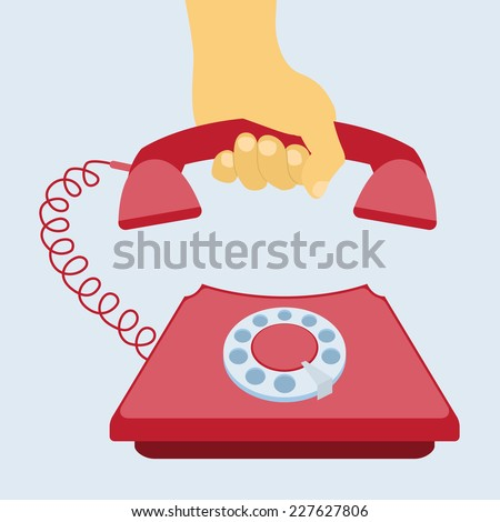 human hand taking telephone receiver, flat style illustration - stock vector