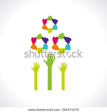 human hand & tree icon -  eco concept vector, This graphic also represents environmental protection, nature conservation, eco friendly, renewable, sustainability, nature loving - stock vector