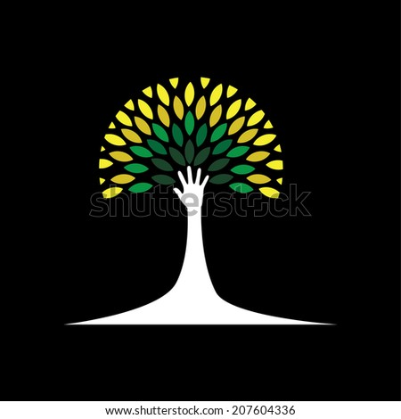 human hand & tree icon with green leaves - eco concept vector. This graphic also represents environmental protection, nature conservation, eco friendly, renewable, sustainability, nature loving - stock vector