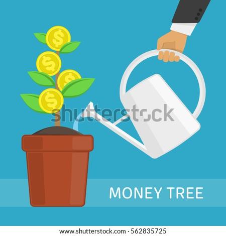 human hand watering money dollar coin stock vector 562835725 rh shutterstock com Animated Money Clip Art Raining Money Clip Art
