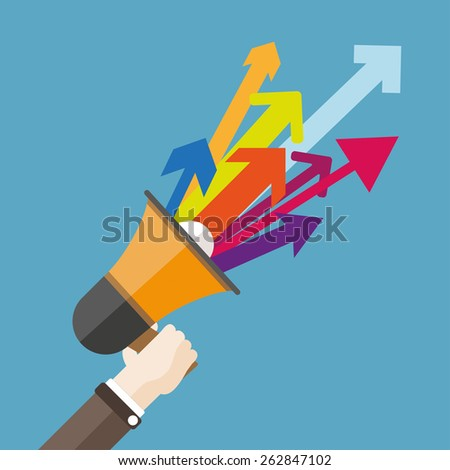 Human hand with a bullhorn and colored arrows. Eps 10 vector file. - stock vector