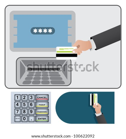 Human hand with a credit card. Activation of a credit card through an ATM - stock vector