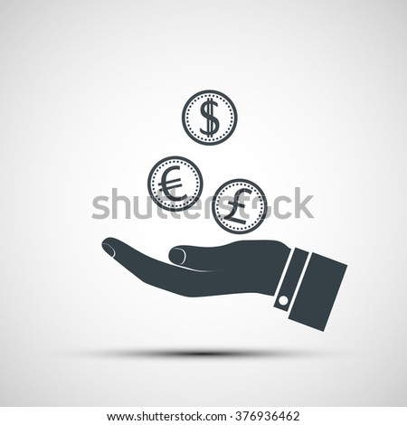 Human hand with coins currencies. Stock vector illustration. - stock vector