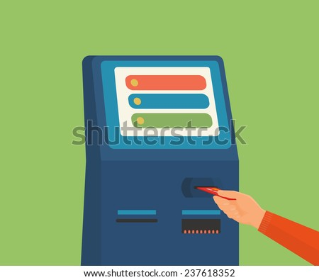Human hand with credit card getting access to payment terminal - stock vector