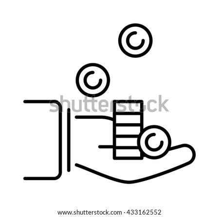 Human hand with money business currency finance investment vector icon. Business money in hand and payment bill money in hand. Paying concept money in hand. Rich concept paying financial give. - stock vector