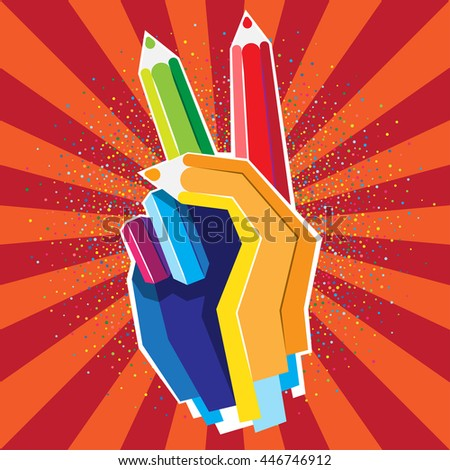 Human hand with Victory sign from color pencils. Vector illustartion - stock vector