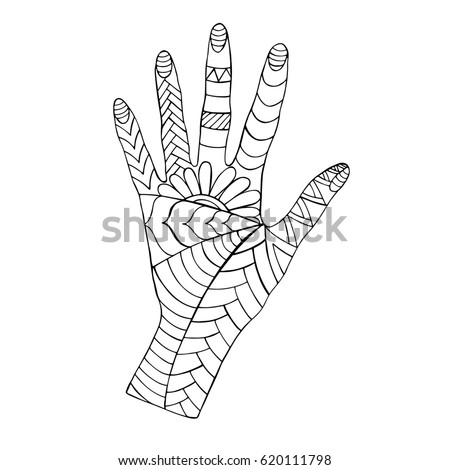 Human Hand Zentangle For Coloring Page Adult Antistress Vector Illustration