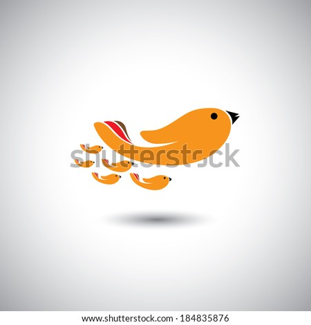 human hands as birds family - concept vector graphic. This illustration also represents leader & leadership, relationship, closeness, father or mother & children together - stock vector