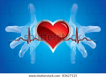 Human hands caring heart.Medical background - stock vector
