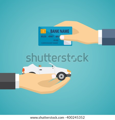 Human hands exchanging credit card and car, vector illustration