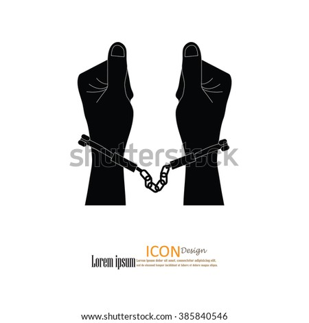 human hands  handcuffed.hands with handcuff.vector illustration. - stock vector