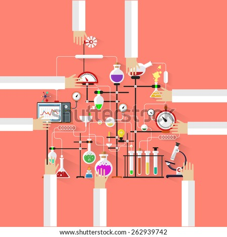 Human hands holding flasks, test tubes and devices, top view. Laboratory workspase and science equipment concept. Chemistry, physics, biology. Flat design vector illustration. - stock vector