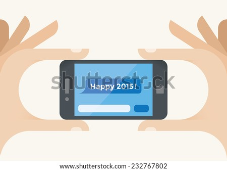 Human hands holding mobile phone with Happy 2015 SMS message on screen. Idea - New Year 2015 celebration and mobile technologies for New Year Eve congratulations. - stock vector