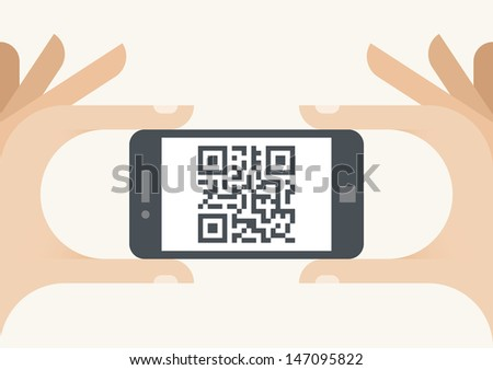 Human hands holding mobile phone with QR code on the screen - stock vector