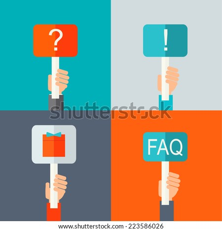 Human hands holding question mark sign, exclamation mark sign, gift sign, FAQ sign in flat design style, vector illustration  - stock vector